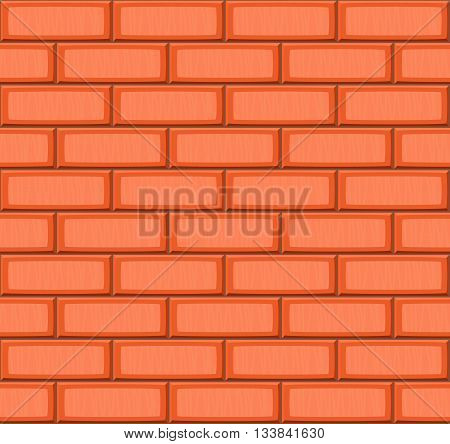 Cartoon hand drown orange realistic seamless brick wall