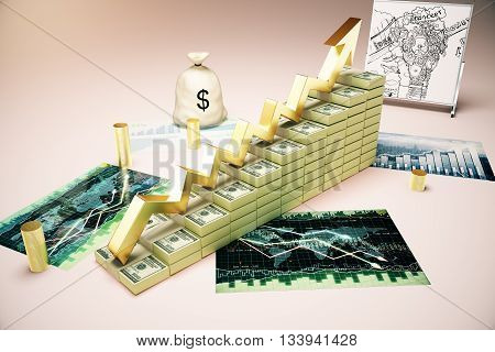 Financial growth concept with dollar banknote ladder business sketch forex charts and money sack. 3D Rendering stock photo