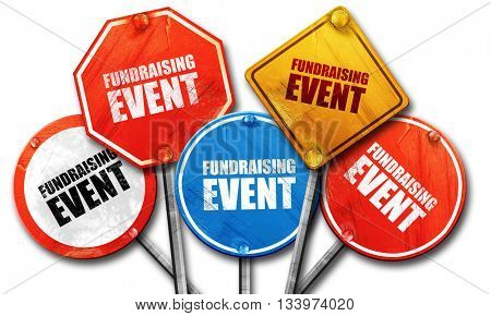 fundraising event, 3D rendering, street signs stock photo
