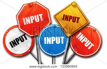 input, 3D rendering, street signs stock photo