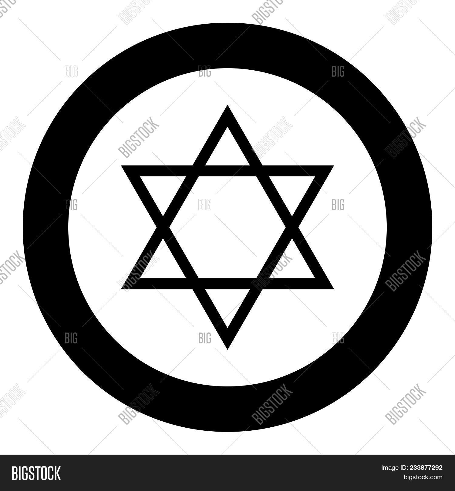 Jewish star of David icon black color in circle vector illustration isolated