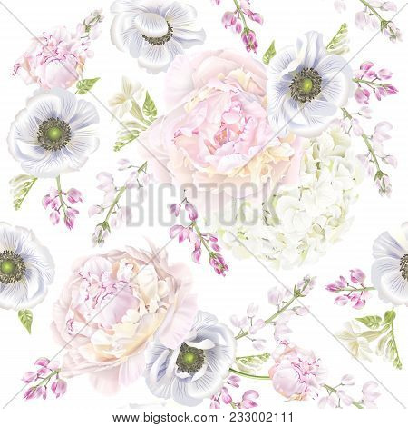 Vector botanical seamless pattern with peony, hydrangea and anemone flowers. Floral background for natural cosmetics, perfume, women products, greeting or wedding card, wrapping paper, fabric print stock photo