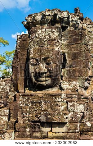 The stone Buddah faces in the Bayon Temple at Angkor Complex, Siem Reap, Cambodia stock photo