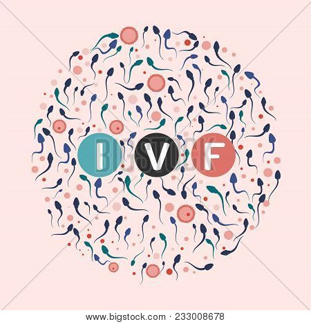In vitro fertilisation concept. Medical, biological and healthcare background with moving spermatozoons and female eggs. Artificial insemination element. Editable vector illustration in pastel colors. stock photo
