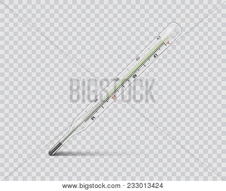 Medical mercury thermometer on transparent background. Realistic temperature diagnostic measurement instrument. vector illustration EPS 10 stock photo
