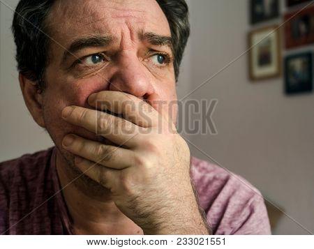 Sad man face close-up stock photo