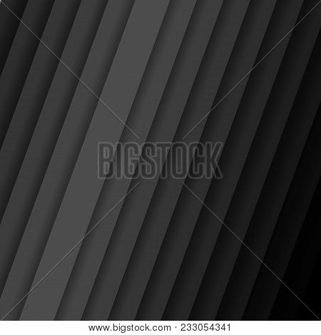Inclined vector strips with shadow Abstract dark background pattern with diagonal stripes from gray to black color Contemporary graphic design cover geometric pattern with lines banner pattern Vector stock photo