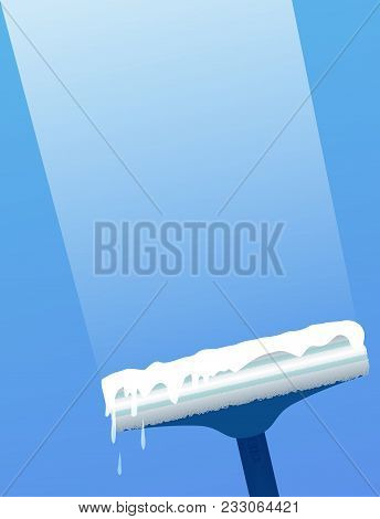 Glass scraper for washing window. Window cleaning. Vector flat illustration for cleaning service concept and your design. stock photo
