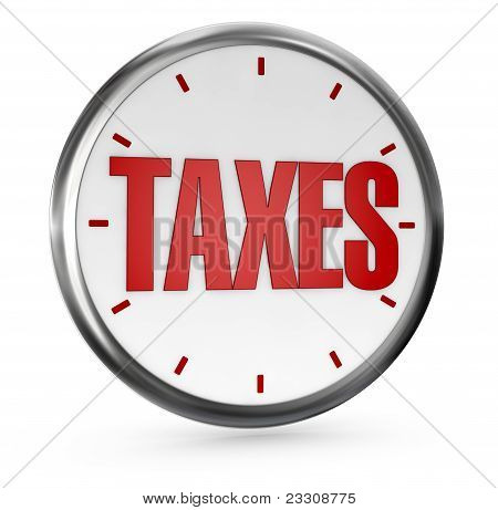 one analog clock without hands with the word TAXES on center (3d render) stock photo