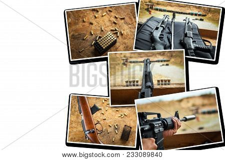 collage  ready for firing a target, Hitting the target from military weapon,shooting on the street, shells on the ground, bullets on the table. stock photo