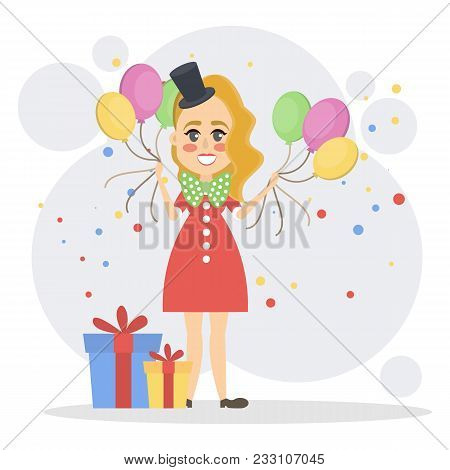 Isolated lady clown with balloons, gift boxes standing . stock photo