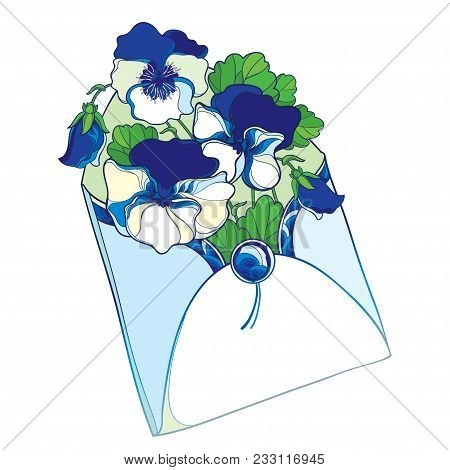 Vector bouquet with outline blue and white Pansy or Heartsease or Viola tricolor flower and leaf in open craft envelope isolated on white background. Contour Pansy flower in pastel for summer design. stock photo