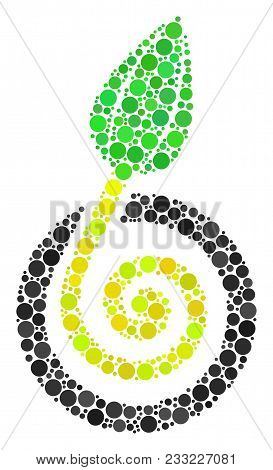 Seed Sprout mosaic of dots in different sizes and color hues. Circle dots are grouped into seed sprout vector mosaic. Vector illustration. stock photo