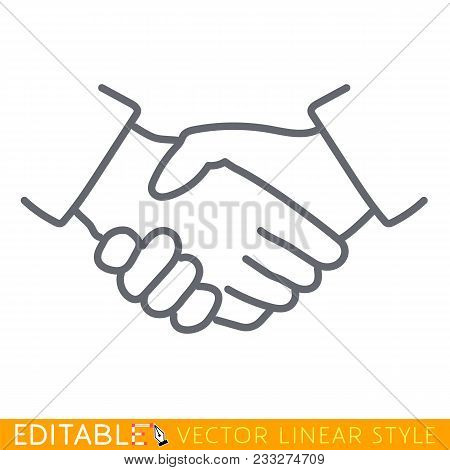 Handshake linear icon. Partnership thin line illustration. Business agreement contour symbol. Vector isolated outline drawing Editable line sketch icon. Stock vector illustration. stock photo