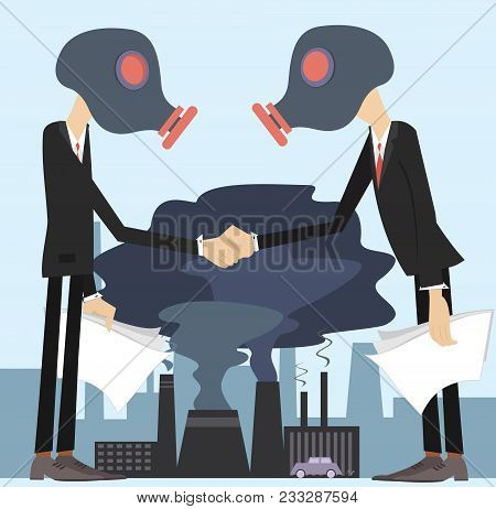 Two men in the gas mask conclude an agreement and shake hands concept illustration. Two men in the gas mask conclude an agreement and shake hands on the polluted smoke from factories and car background illustration stock photo