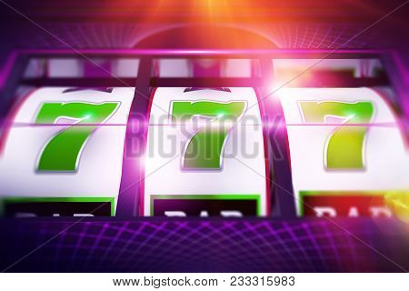 Lucky Slot Spin. Casino Slot Machine Game Concept 3D Rendered Illustration. stock photo