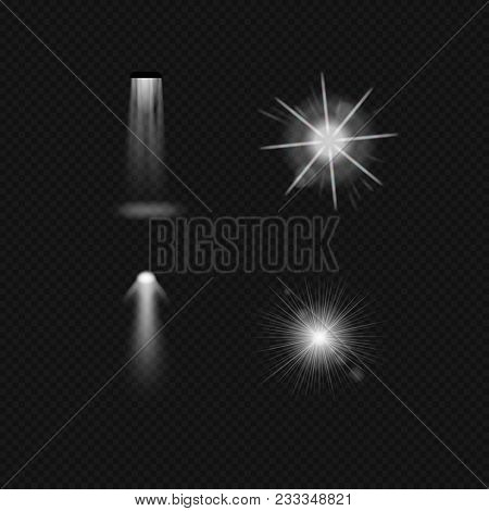 Light sources, lighting incandescent lamps, halogen lamps and fluorescent, leds, floodlight, sunlight, ultraviolet. Effects types of lighting on transparent background Illustration isolated stock photo