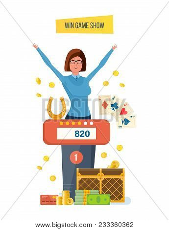 Win game show. Participant of show play quiz, answer logical questions. Success, victory, big cash prize. Girl winning of game success, fortune, high level erudition. Illustration in cartoon style. stock photo