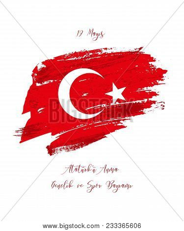 19th may commemoration of Ataturk, youth and sports day. Vector Turkish holiday greeting card stock photo