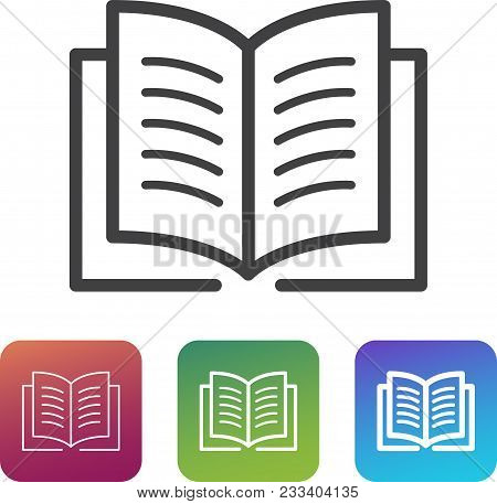 Lightweight book icon in three different variants: thin, normal, thick. stock photo