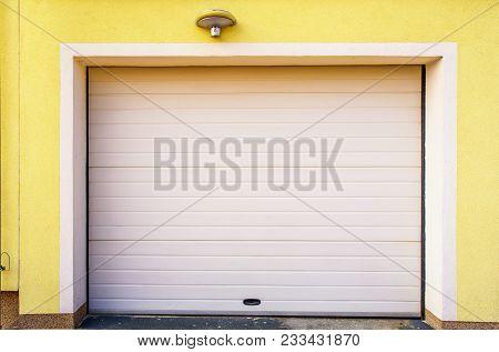 garage door upvc, plastic pvc garage door stock photo