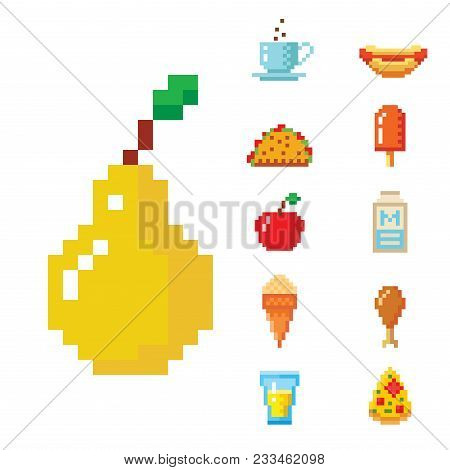 Set of pixel icons fruit sweet sign. Vector illustration restaurant pixelated element. Fast food computer design symbol retro game web graphic. stock photo