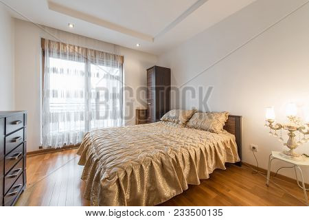 Interior of a luxury dome apartment villa, living room, domed ceiling, open plan stock photo
