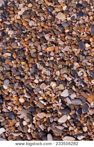 sea pebbles pebbles colored granite on the beach on the beach background Sea shells, corals, pebble stones and sand for background. stock photo