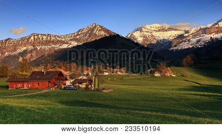 Sunset landscape in Berner Oberland, Switzerland, Europe stock photo
