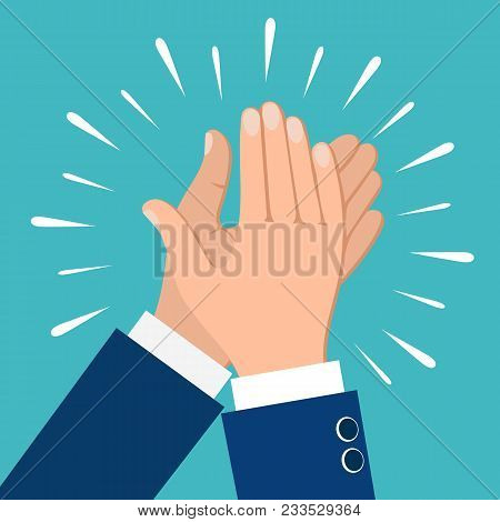Clapping hands. Business people applauding hands clap vector illustration stock photo