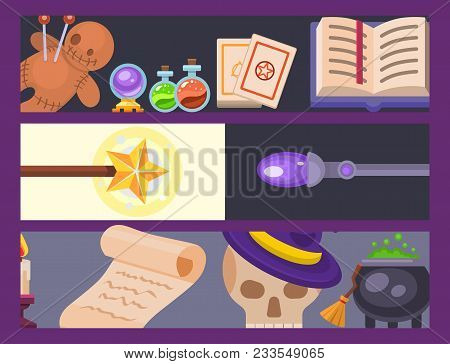Magic effect trick banner magician wand and surprise entertainment fantasy carnival mystery tools cartoon miracle decoration vector illustration. Fun witchcraft spell event sign. stock photo
