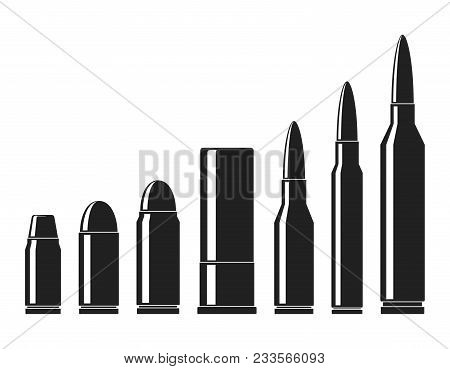 Cartridges icons vector set. A collection of bullets icons isolated on white background. Weapon ammo types and size in flat style. Vector illustration stock photo
