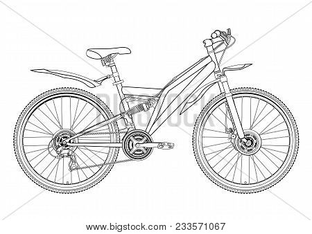 Bicycle vector contour drawing, monochrome, black and white sketch, silhouette, coloring book. Outline picture bike half-face with many multiple details isolated on white stock photo