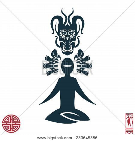 Man Person Basic body position Stick Figure Icon silhouette vector sign,feng shui, china, oriental, dragon, force, energy, Taoism, Qi energy, meditation, enlightenment, path.Character meditating dragon stock photo