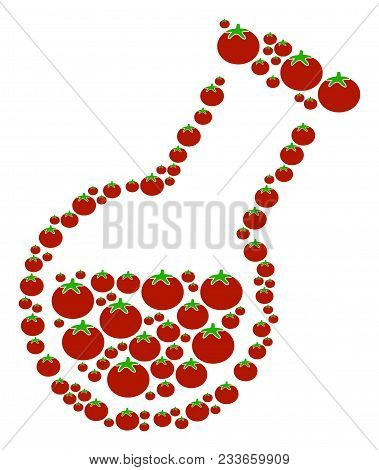Retort composition of tomato in variable sizes. Vector tomatoes elements are composed into retort collage. Salad vector illustration. stock photo