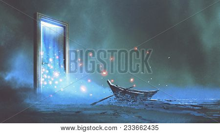 fantasy scenery of the abandoned boat on the shore near the mystery door, digital art style, illustration painting stock photo