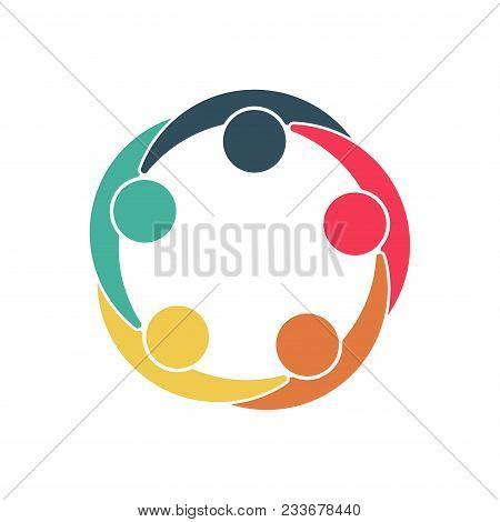 Group of five people in a circle.Teamwork meeting.people are meeting in the room.Powerful combined forces. stock photo