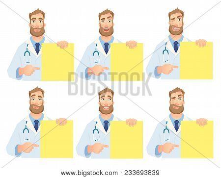 Doctor holding blank banner. Doctor vector illustration. Set stock photo