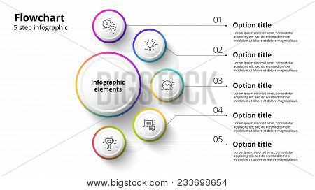 Business process chart infographics with 4 step segments. Circular corporate timeline infograph elements. Company presentation slide template. Modern vector info graphic layout design. stock photo