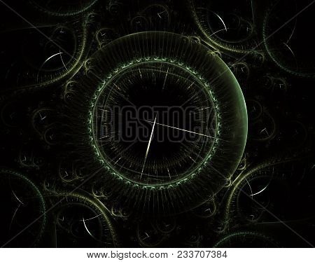 Futuristic modern clock watch abstract fractal surreal. Unusual abstract texture pattern fractal background. Modern stylish fractal effect watch. Christmas clock. Multi-colored clockwork stock photo