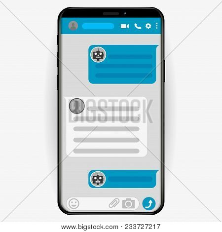 Chatbot concept. Customer service robot. Man chatting with chat bot. User ask robot the question and get an answer. Change settings with bot. Conversation with chat bot. Vector flat illustration stock photo