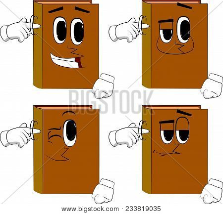 Books shows a you're nuts gesture by twisting his finger around his temple. Cartoon book collection with happy faces. Expressions vector set. stock photo