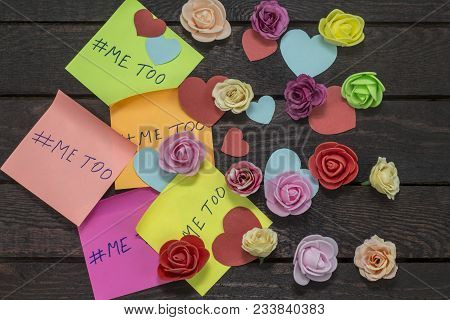 Me Too hashtag on colorful stickers, anti sexual harassment social media campaign. stock photo