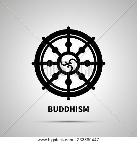 Buddhism religion simple black icon with shadow stock photo