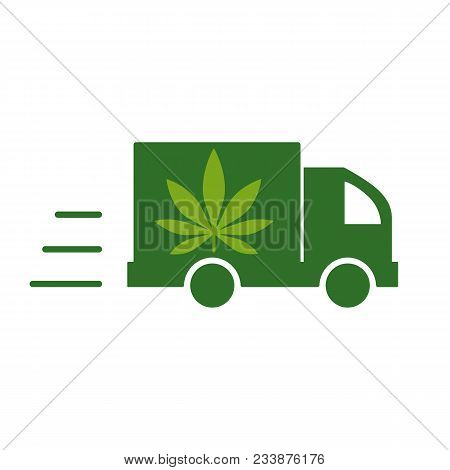 Delivery cannabis. Illustration of a delivery truck icon with a marijuana leaf. Vector illustration on white background. stock photo