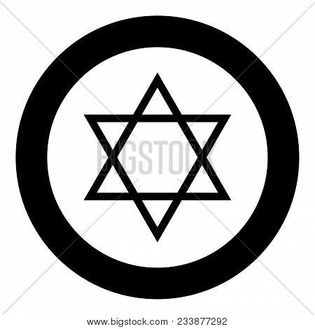 Jewish star of David icon black color in circle vector illustration isolated stock photo