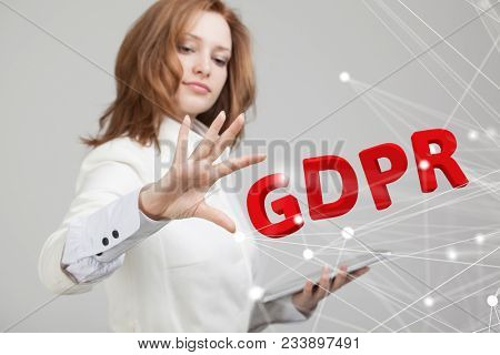 GDPR concept image. General Data Protection Regulation, the protection of personal data. Young woman working with information. stock photo
