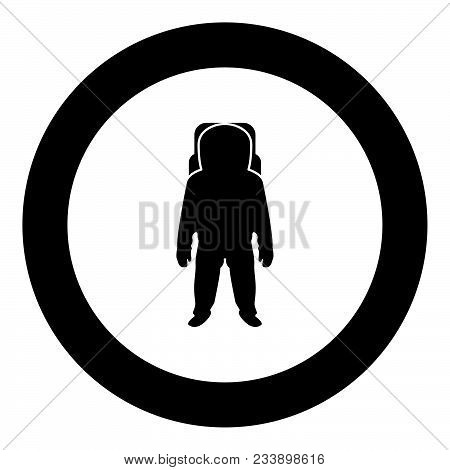 Spaceman icon black color in circle vector illustration isolated stock photo
