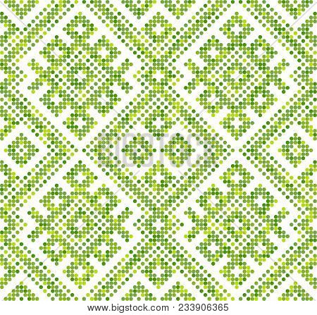Russian ethnic ornament.DISABLING LAYER, you can obtain seamless pattern.The pattern is filled four-color palette of lime in random order stock photo