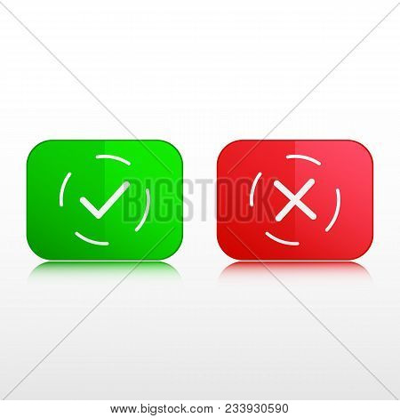 Buttons, thin line icons. Green check mark button and red cross button. Vector illustration isolated on white background. Button to your web - site, and applications design. stock photo